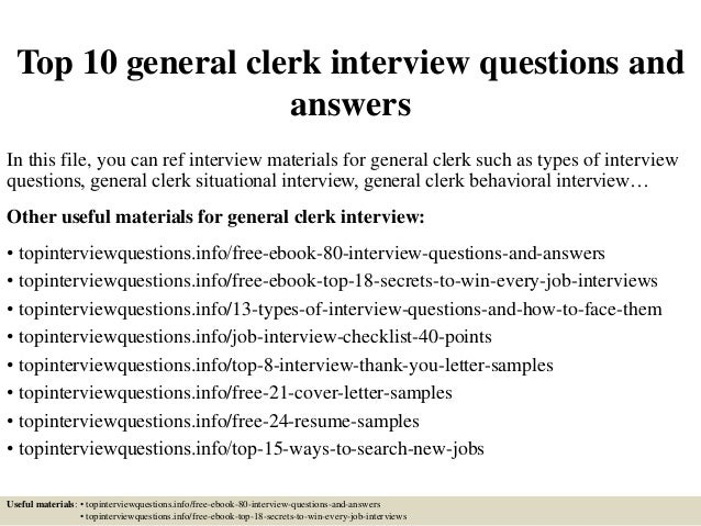 Top 10 general clerk interview questions and answers