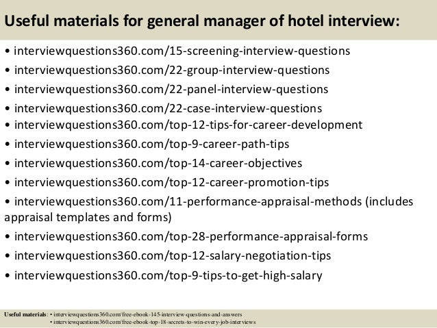Top 10 general manager of hotel interview questions and answers