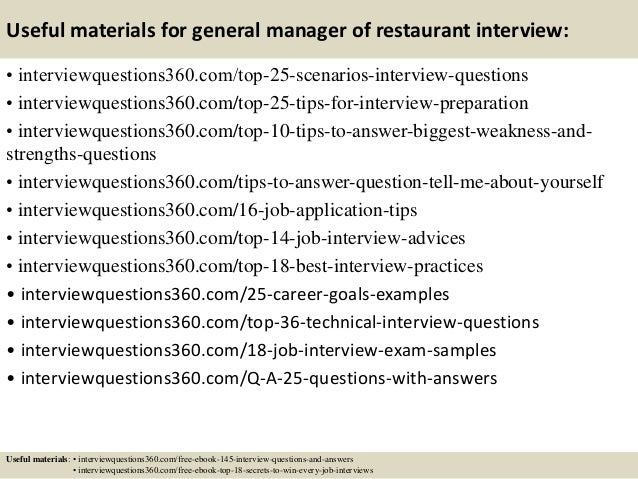 Top  General Manager Of Restaurant Interview Questions And Answers