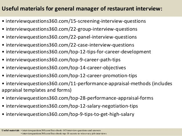 Restaurant Manager Interview Questions