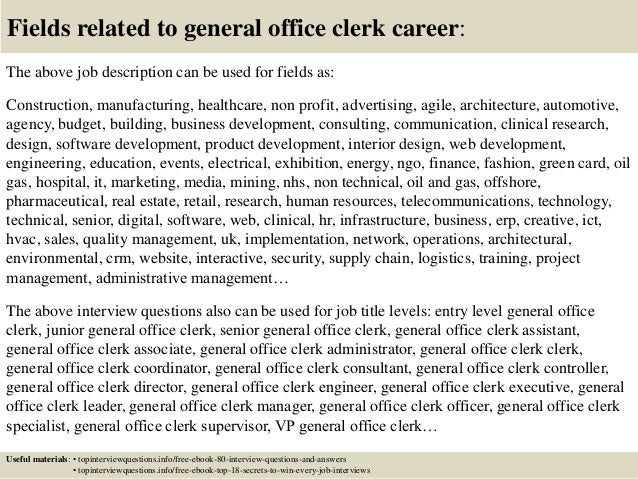Awesome Office Clerk Job Description Images  Best Resume Examples