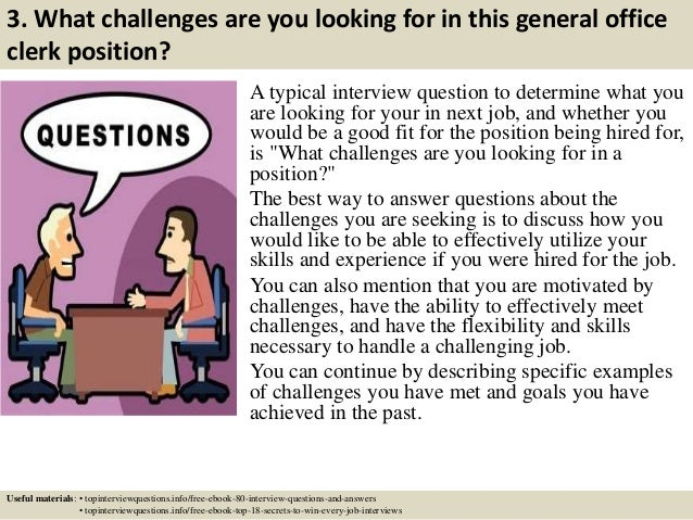 interview questions for clerk position