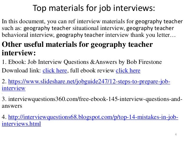 Exceptional ... Tips To Prepare For Geography Teacher Interview; 4. Top Materials For  Job Interviews: In This Document, You Can ...