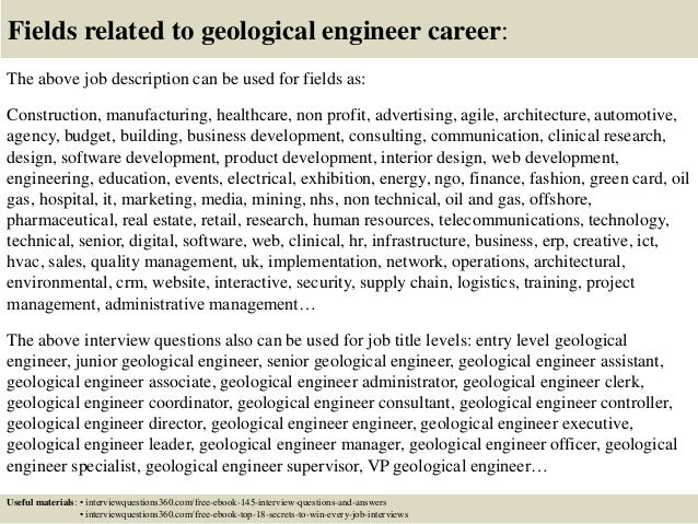 Superintendent Senior Production Geologist Sectional Geologist