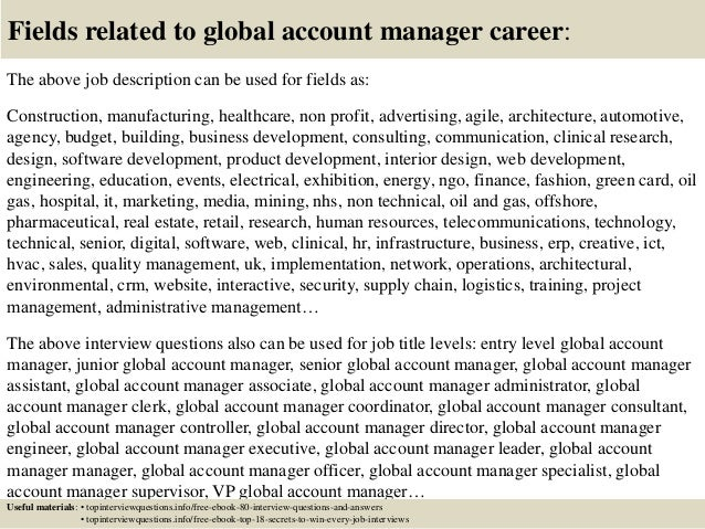 17 fields related to global account manager. Resume Example. Resume CV Cover Letter