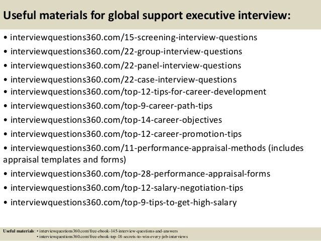 Top 10 global support executive interview questions and answers