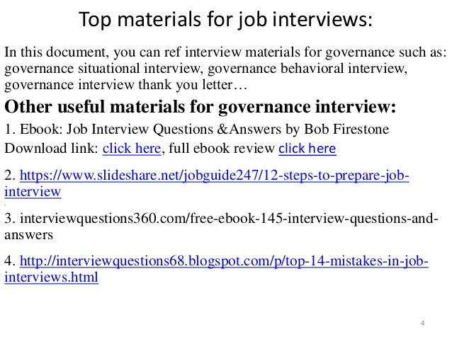 top 36 governance interview questions with answers pdf
