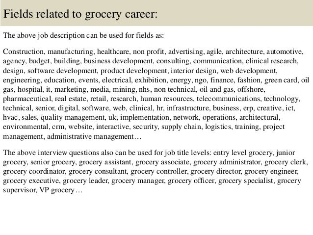 16. Fields Related To Grocery Career: The Above Job Description ...
