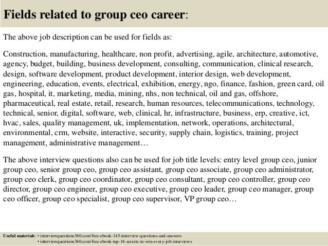 Top 10 group ceo interview questions and answers