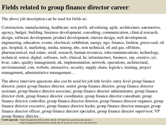 Finance Director Job Description | Top 10 Group Finance Director Interview Questions And Answers