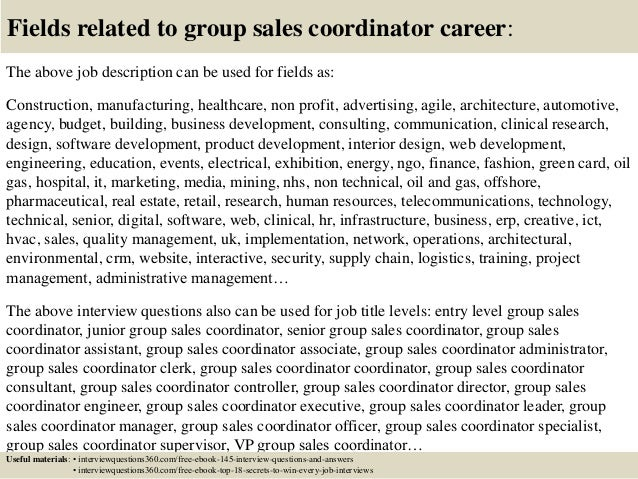 Top  Group Sales Coordinator Interview Questions And Answers