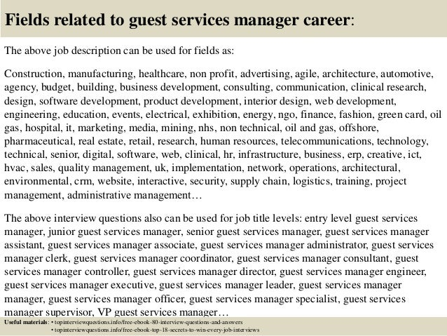 Top 10 guest services manager interview questions and answers