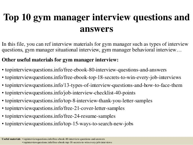 Top 10 gym manager interview questions and answers