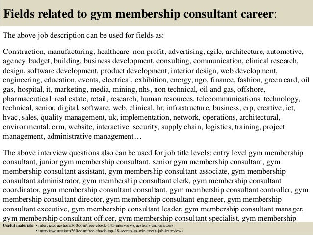 Top 10 gym membership consultant interview questions and answers