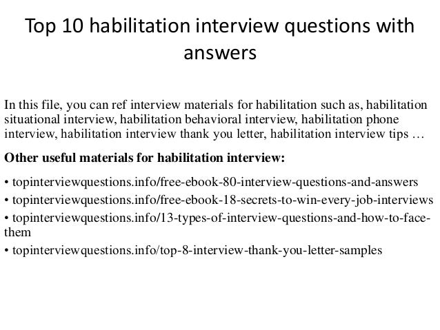 Top 10 habilitation interview questions with answers