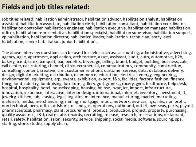 Habilitation Specialist Job Description
