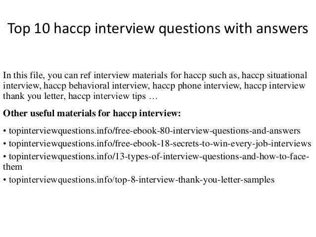 Top 10 haccp interview questions with answers