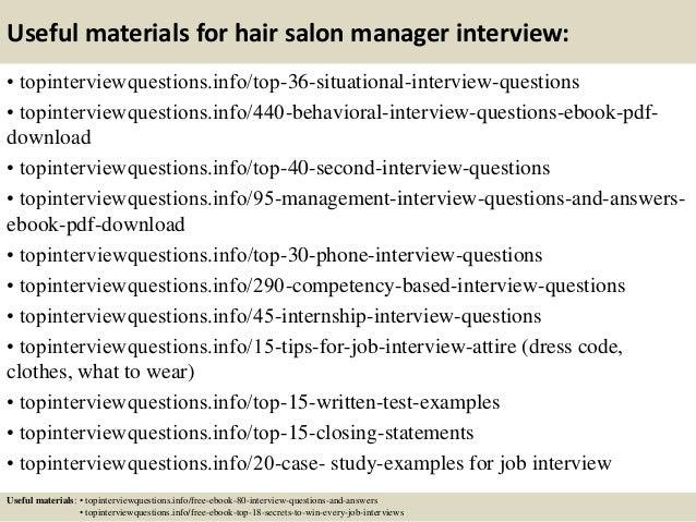 salon manager job description