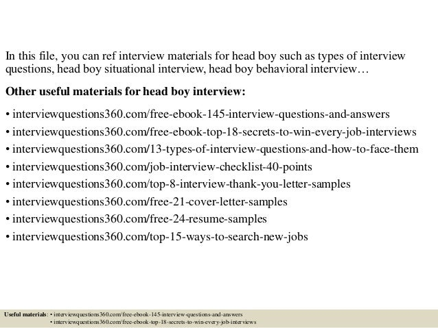 Top 10 head boy interview questions and answers spiritdancerdesigns Gallery
