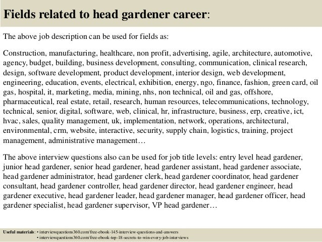 Top 10 head gardener interview questions and answers