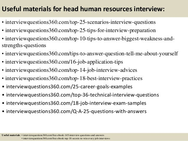 Top 10 head human resources interview questions and answers