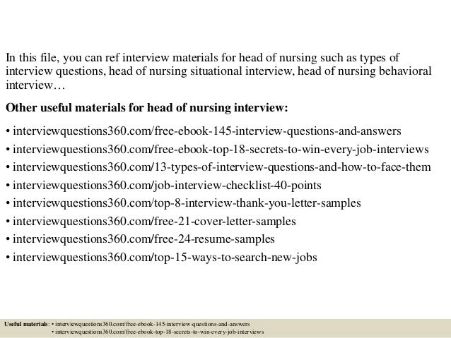 Top  Head Of Nursing Interview Questions And Answers