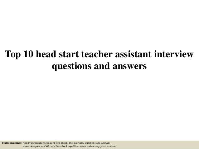 teacher aide interview questions
