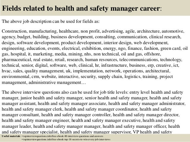 Top 10 health and safety manager interview questions and answers