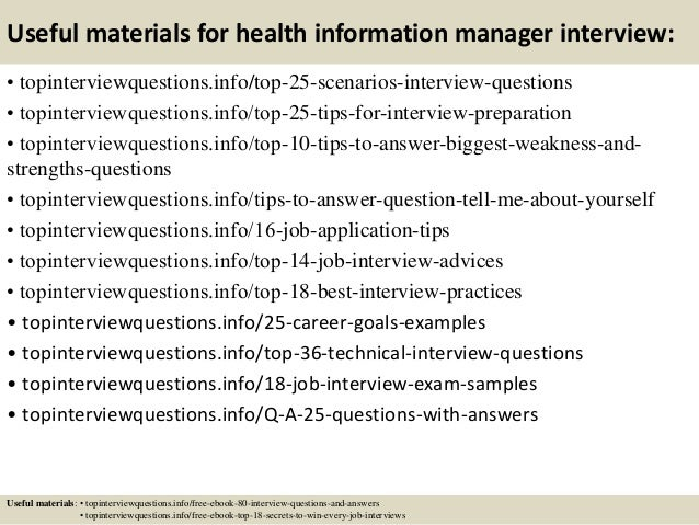 Top 10 health information manager interview questions and answers