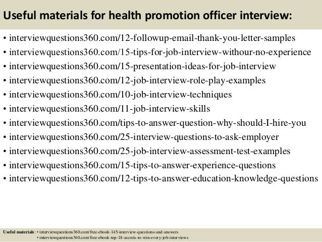 15 useful materials for health promotion officer interview
