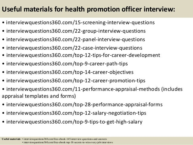 16 useful materials for health promotion officer interview