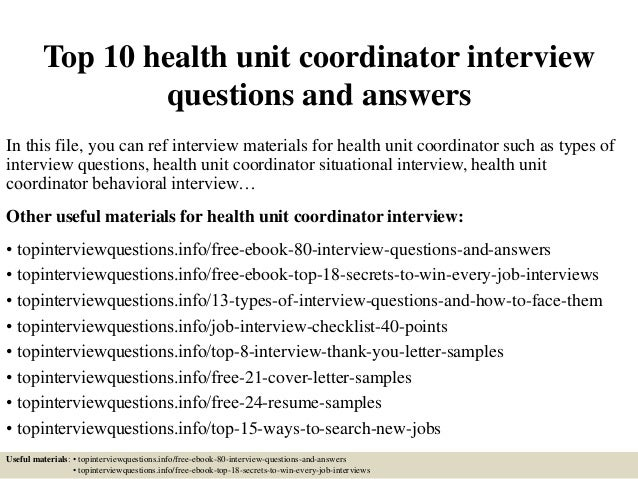 top 10 health unit coordinator interview questions and answers in this file