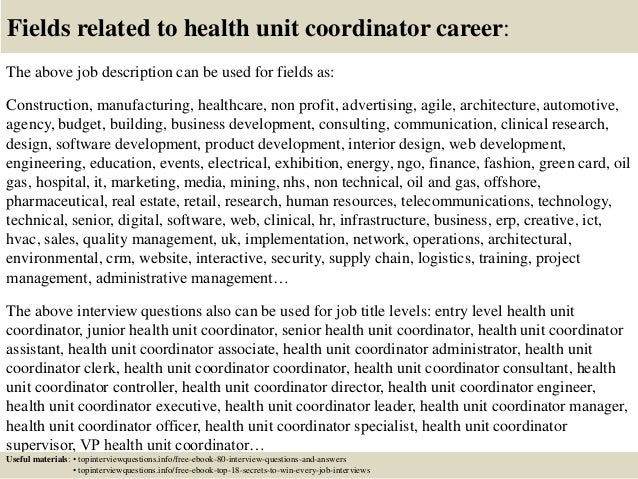 Health Unit Coordinator Job Description Resume