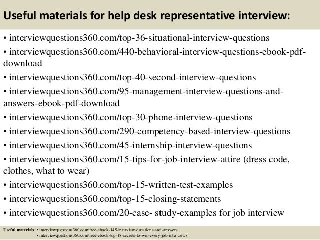 Top 10 help desk representative interview questions and ...