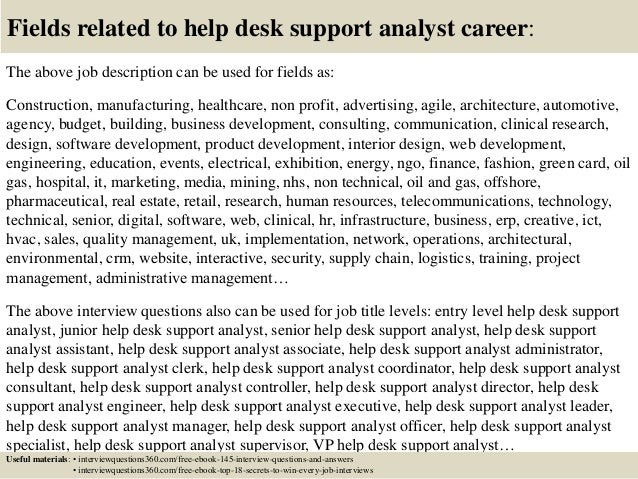 Help Desk Analyst Job Description