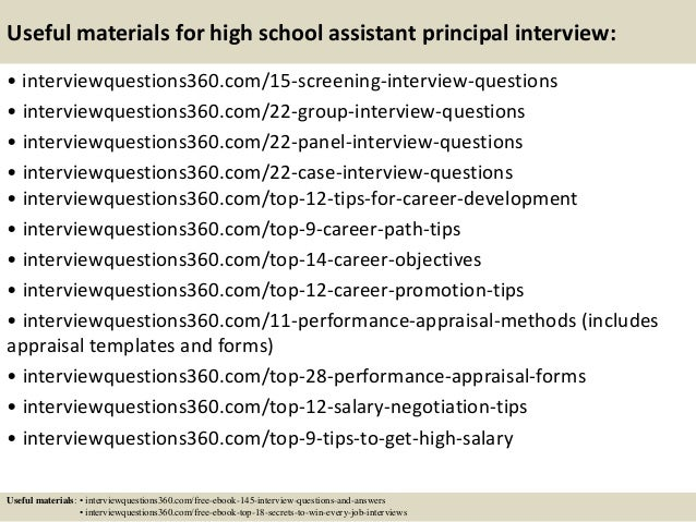 top 10 high school assistant principal interview questions