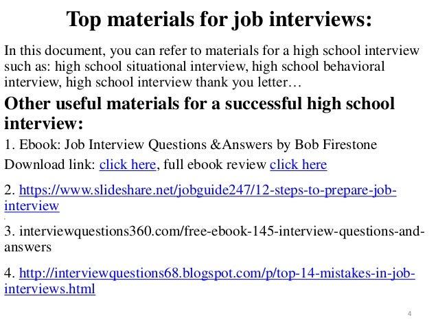 Superior School Interview; 4. Top Materials For Job .