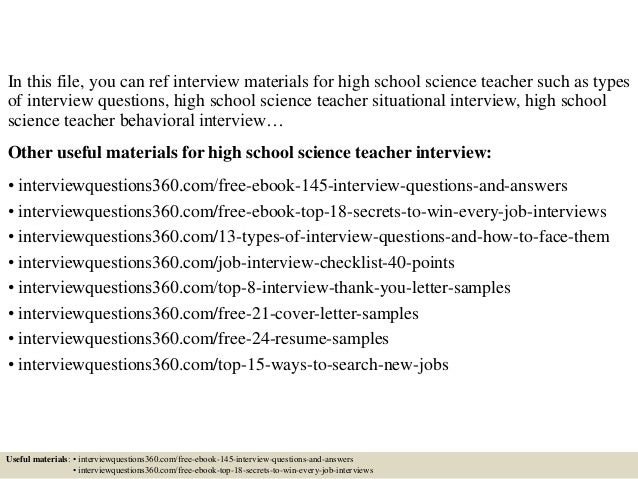 Top 10 high school science teacher interview questions and answers
