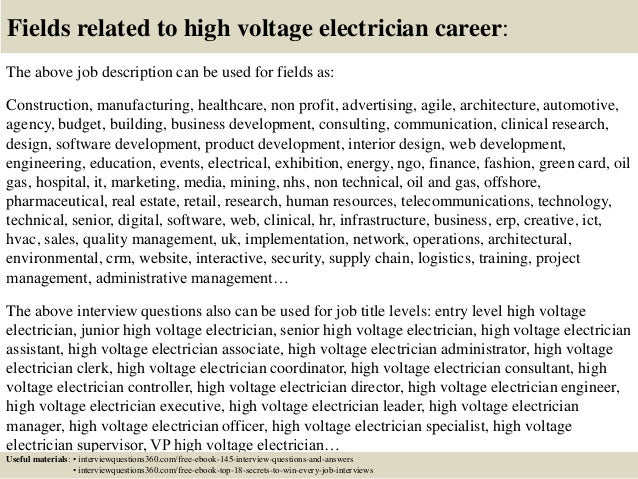 ... 18. Fields Related To High Voltage Electrician ...