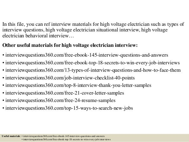 Top 10 high voltage electrician interview questions and answers