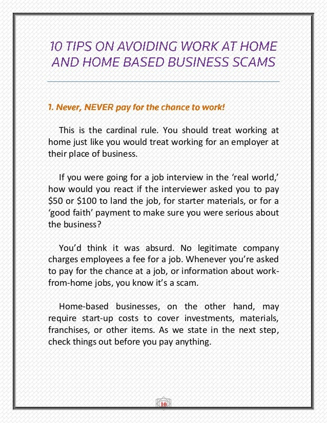 Top 10 Home Based Business and Work at Home Scams