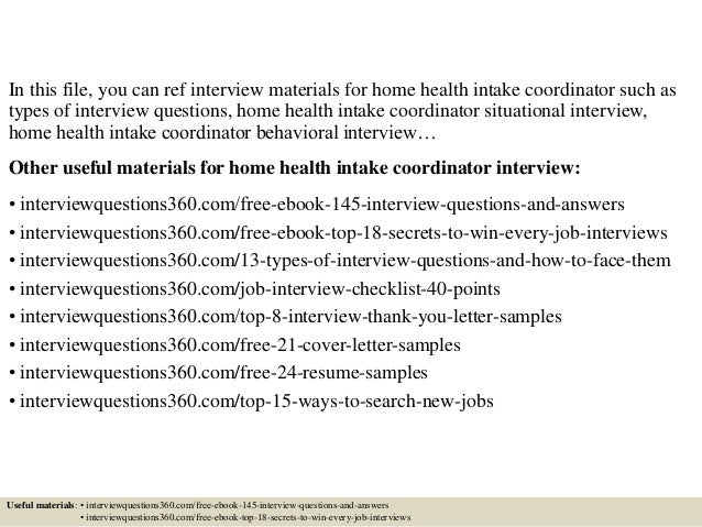 Intake Coordinator Cover Letter Top 10 Home Health Interview Questions And Answers
