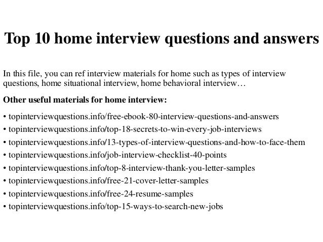 Top 10 home interview questions and answers for Homegoods interview questions