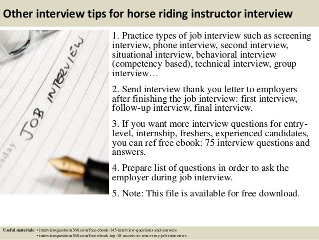 ... 17. Other Interview Tips For Horse Riding Instructor ...