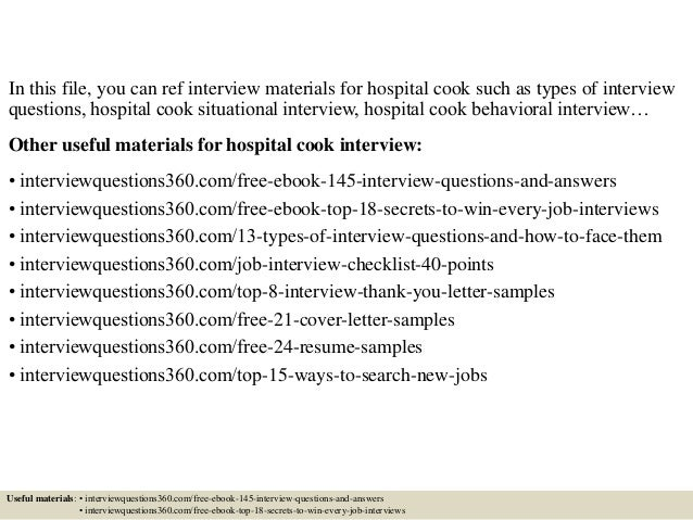 top 10 hospital cook interview questions and answers - Hospital Cook Cover Letter