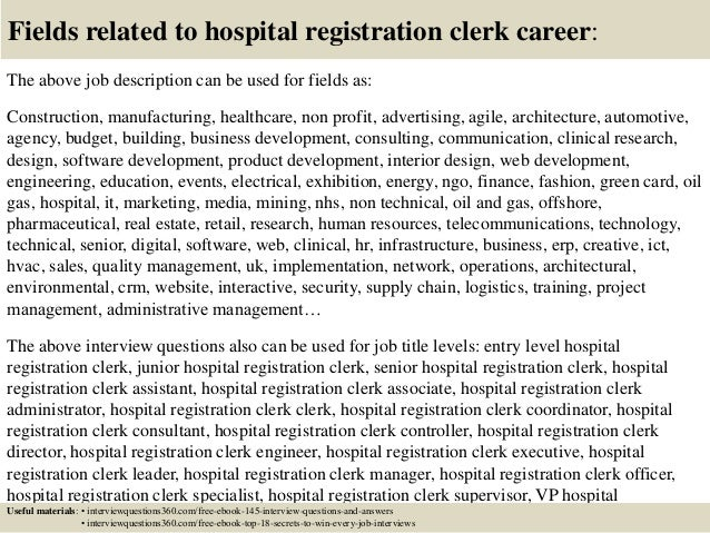 ... 18. Fields Related To Hospital Registration Clerk ...