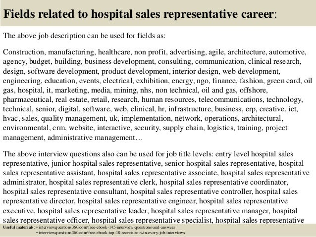 Top 10 hospital sales representative interview questions and answers – Sales Rep Job Description