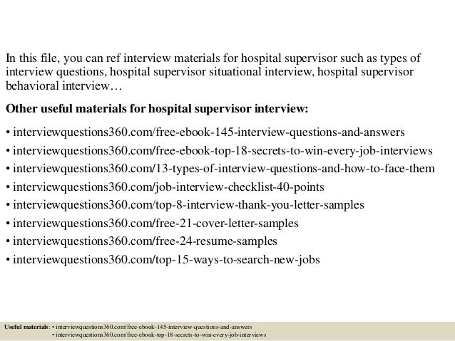Top 10 Hospital Supervisor Interview Questions And Answers