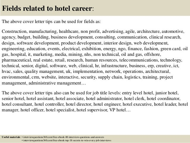 ... 16. Fields Related To Hotel Career: The Above Cover Letter ...