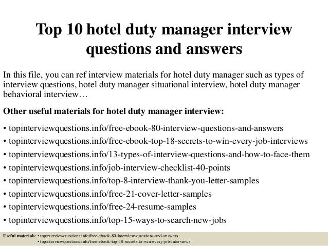Top 10 Hotel Duty Manager Interview Questions And Answers